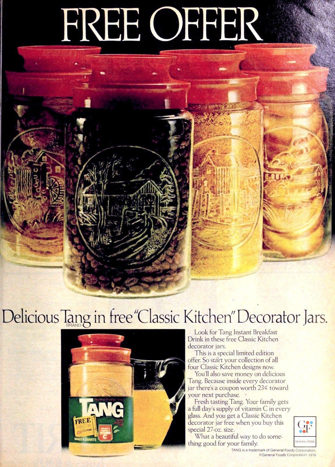 Vintage Tang Classic Kitchen decorator jars offer (1978)