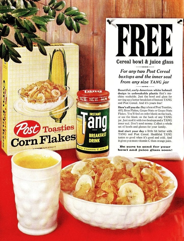 Vintage Tang drink mix and Post Toasties corn flakes cereal ad