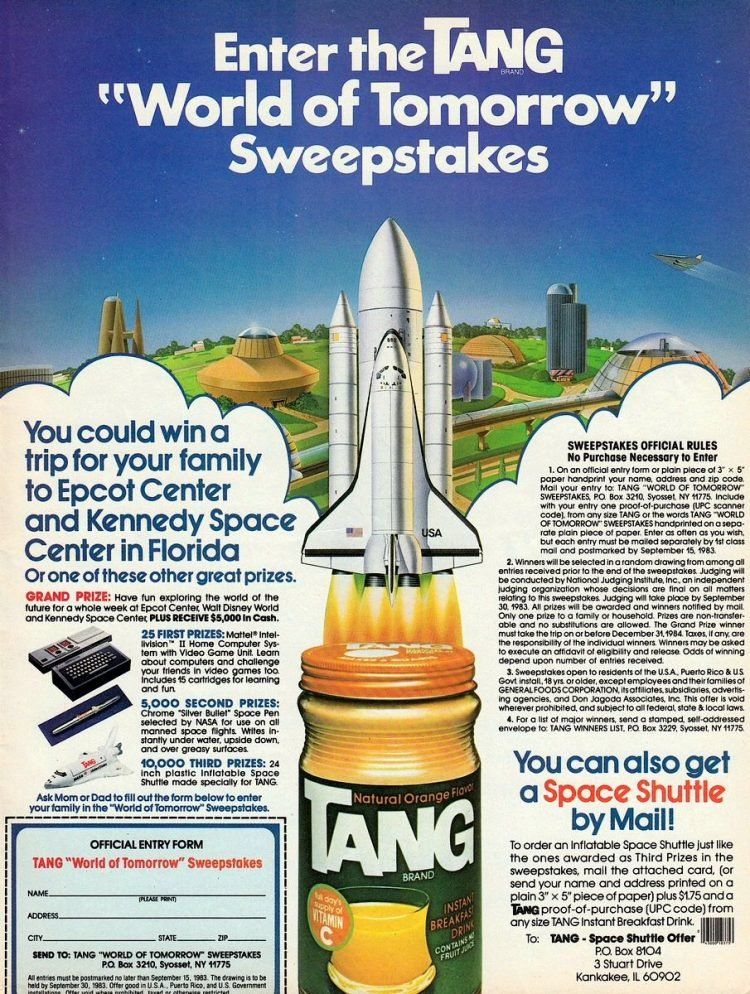 Vintage Tang space shuttle ad from 1983