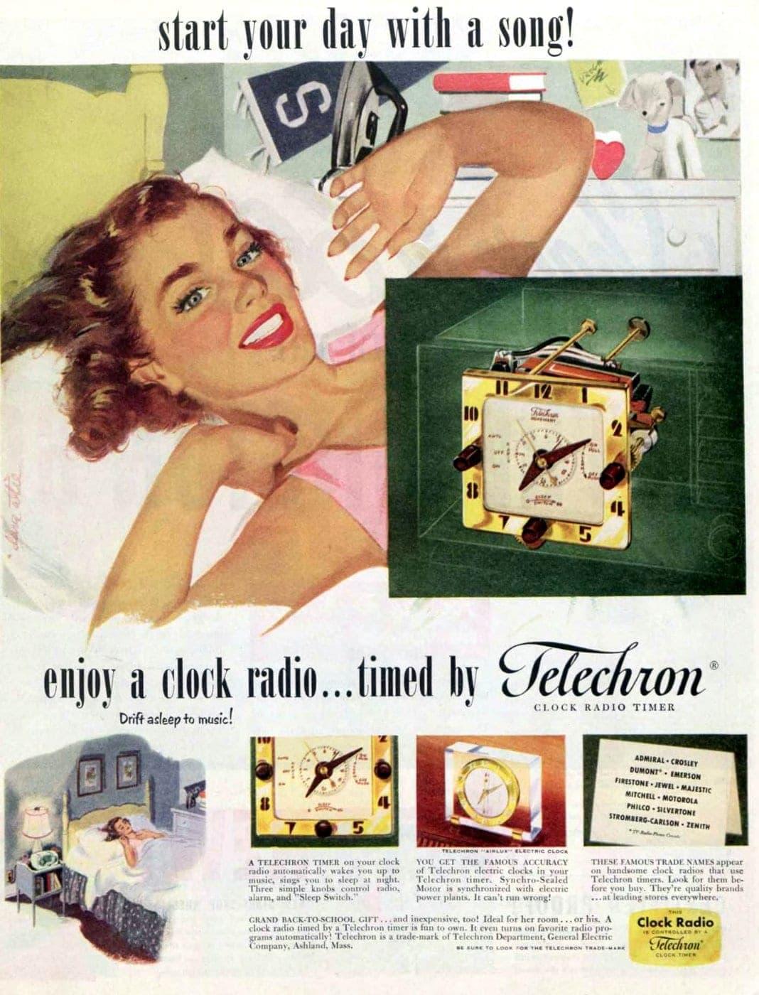 Vintage Telechron clock radio from 1951