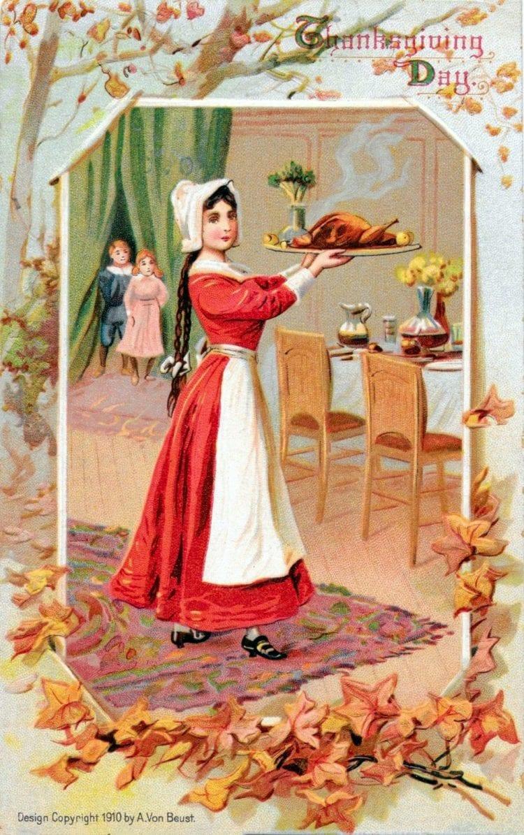 Vintage Thanksgiving dinner postcard 1910