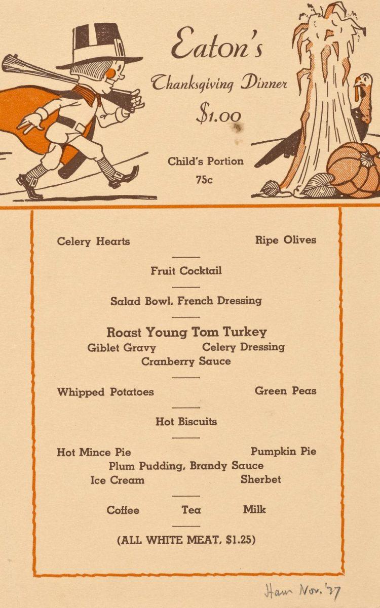 Eaton's TG menu 1937