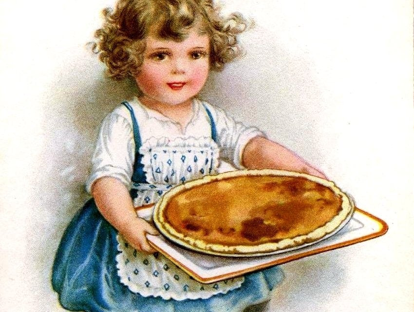 Vintage Thanksgiving postcard - Holiday food with pumpkin pie-001