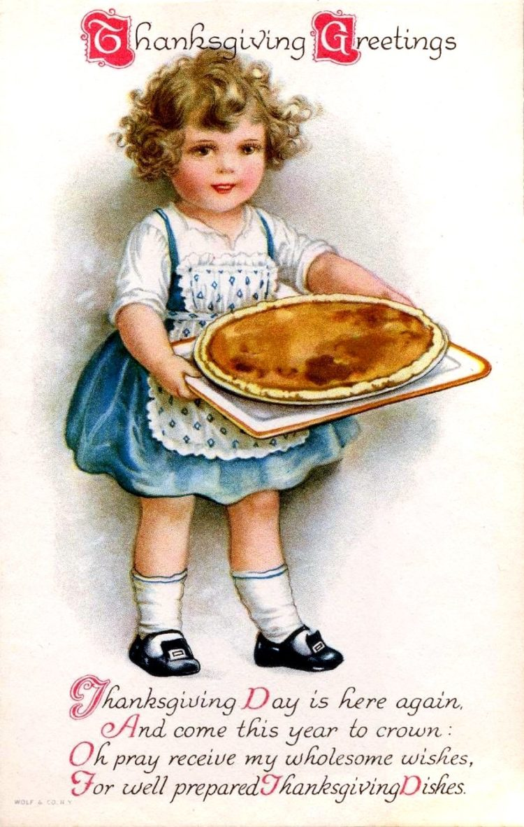 Vintage Thanksgiving postcard - Holiday food with pumpkin pie