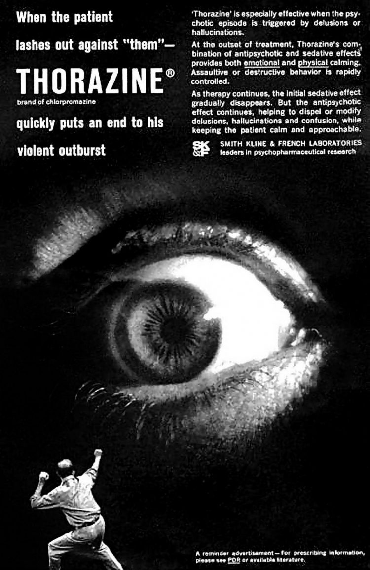 Vintage Thorazine ad - When the patient lashes out against them