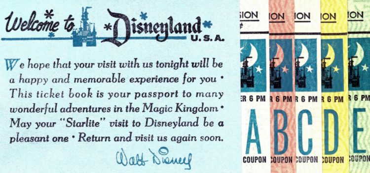 Vintage Ticket books - Disneyland - night - starlite visit