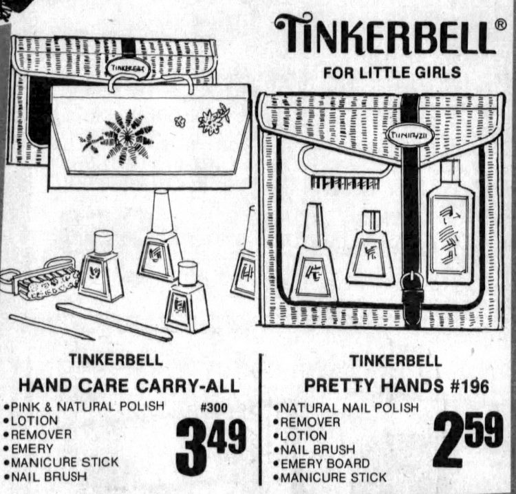 Vintage Tinkerbell manicure kits - Hand Care Carry All from 1979