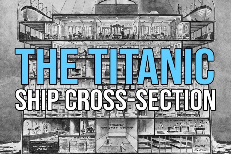 Vintage Titanic ship cross-section 1912