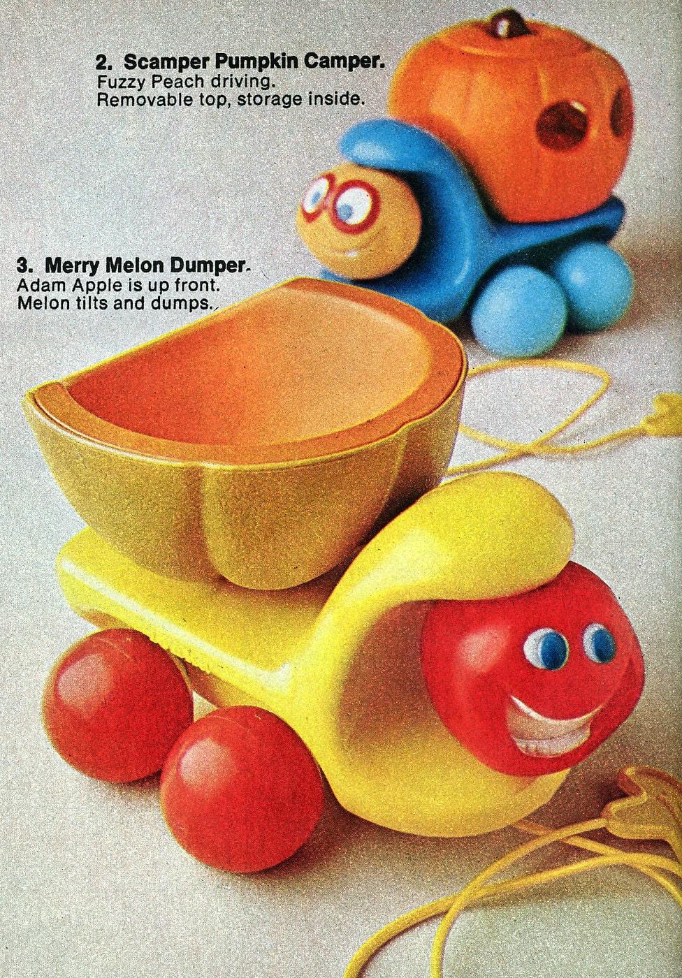 Vintage Tonka Toddler toys - Scamper Pumpkin Camper and Merry Melon Dumper (1972)