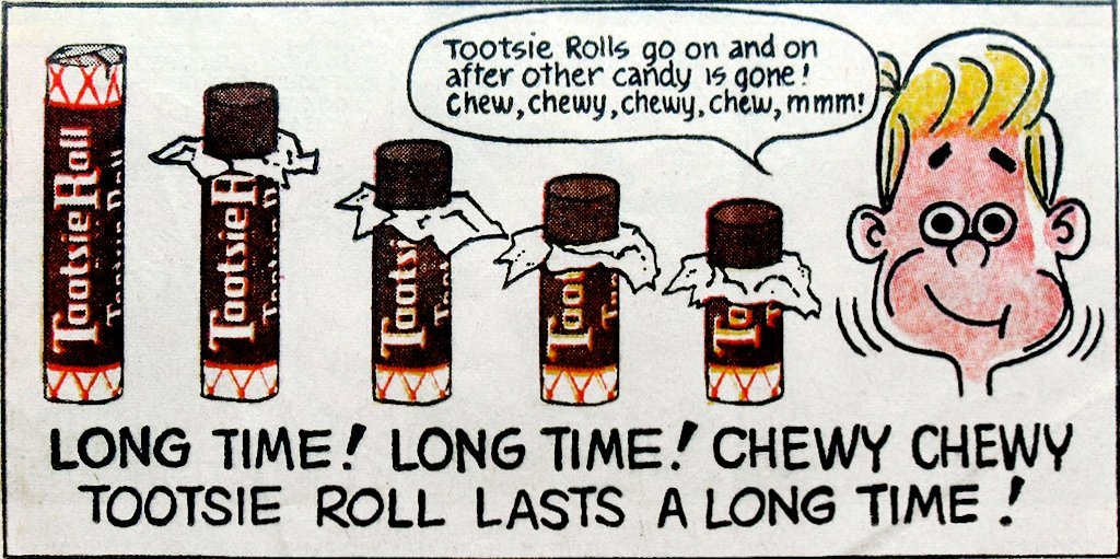 Vintage Tootsie Rolls comic book ad (c1970s)