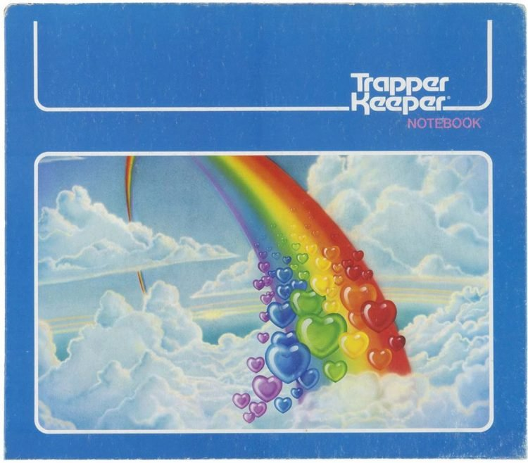Vintage Trapper Keeper notebook with rainbow