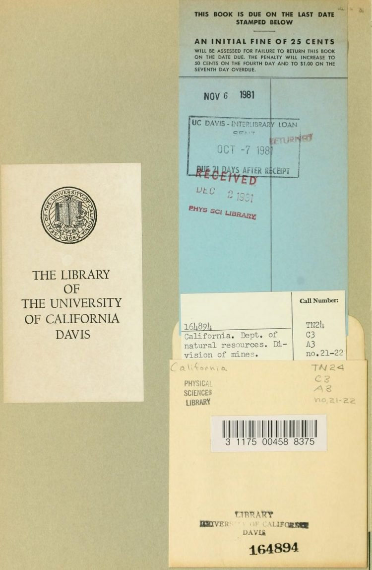 Vintage UC Davis library book lending pocket 1980s