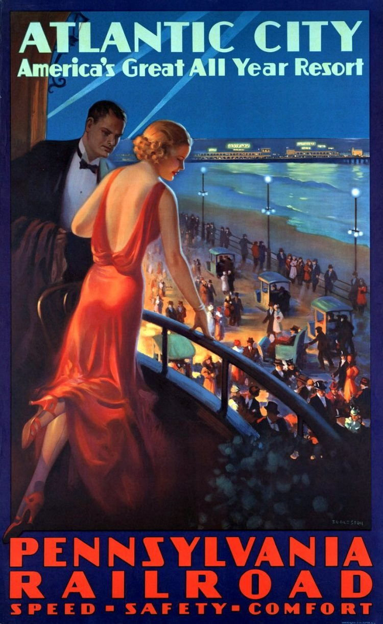 Vintage US travel poster - Atlantic City