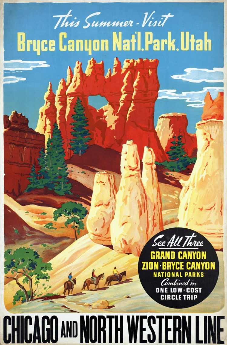Vintage US travel poster - Bryce Canyon National Park - Utah