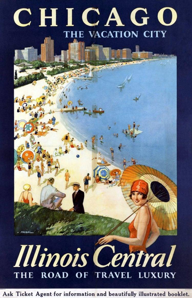 Vintage US travel poster - Chicago