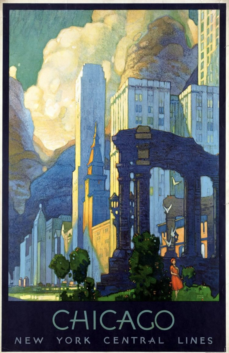 Vintage US travel poster - Chicago by train