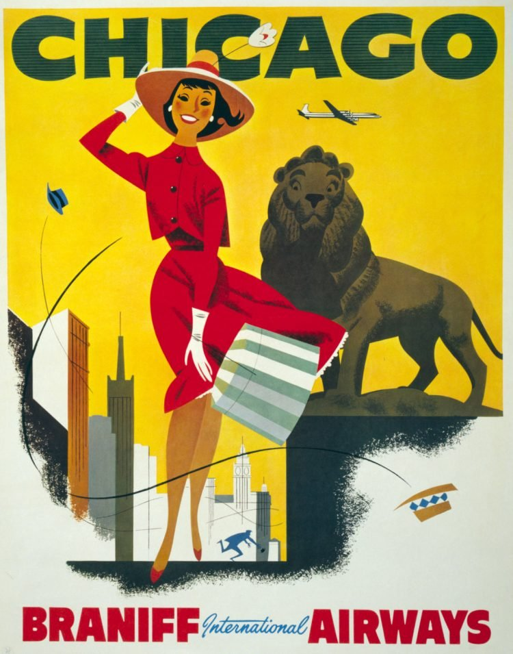 Vintage US travel poster - Chicago on Braniff