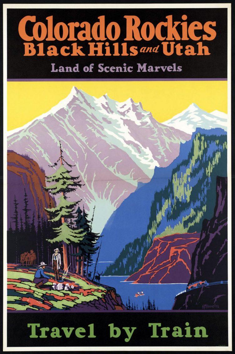 Vintage US travel poster - Colorado Rockies