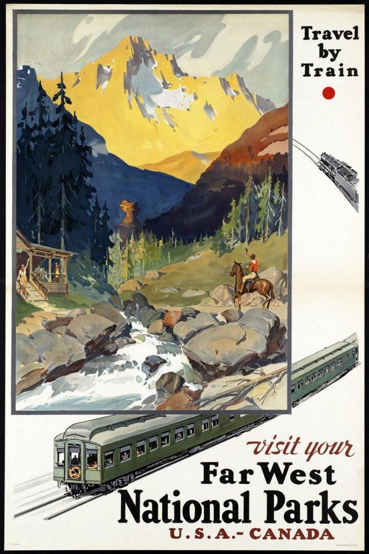 Vintage US travel poster - Far West national parks