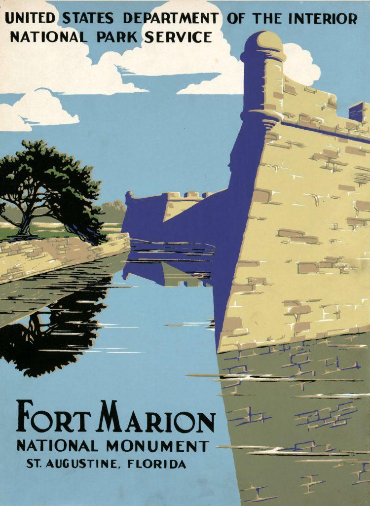 Vintage US travel poster - Fort Marion - Florida