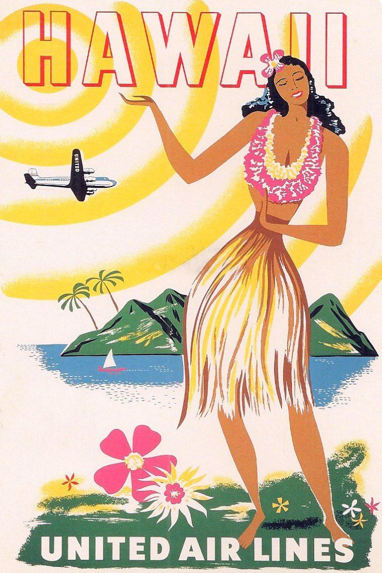 Vintage US travel poster - Hawaii