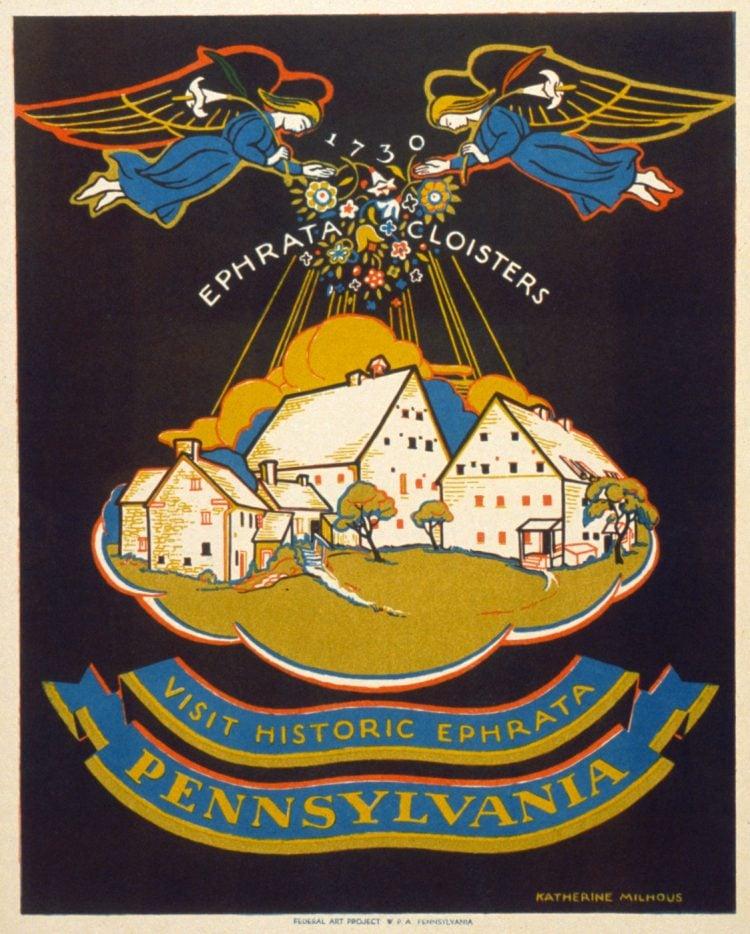 Vintage US travel poster - Historic Ephrata Pennsylvania
