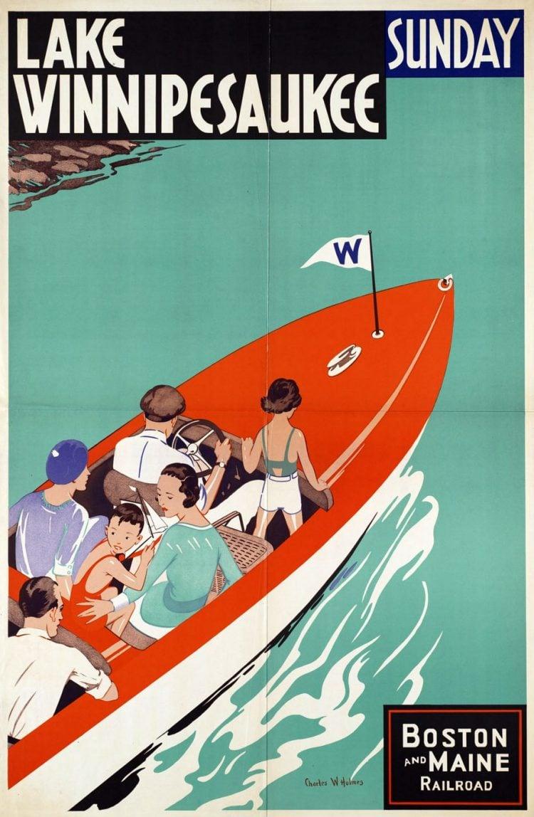 Vintage US travel poster - Lake Winnipesaukee