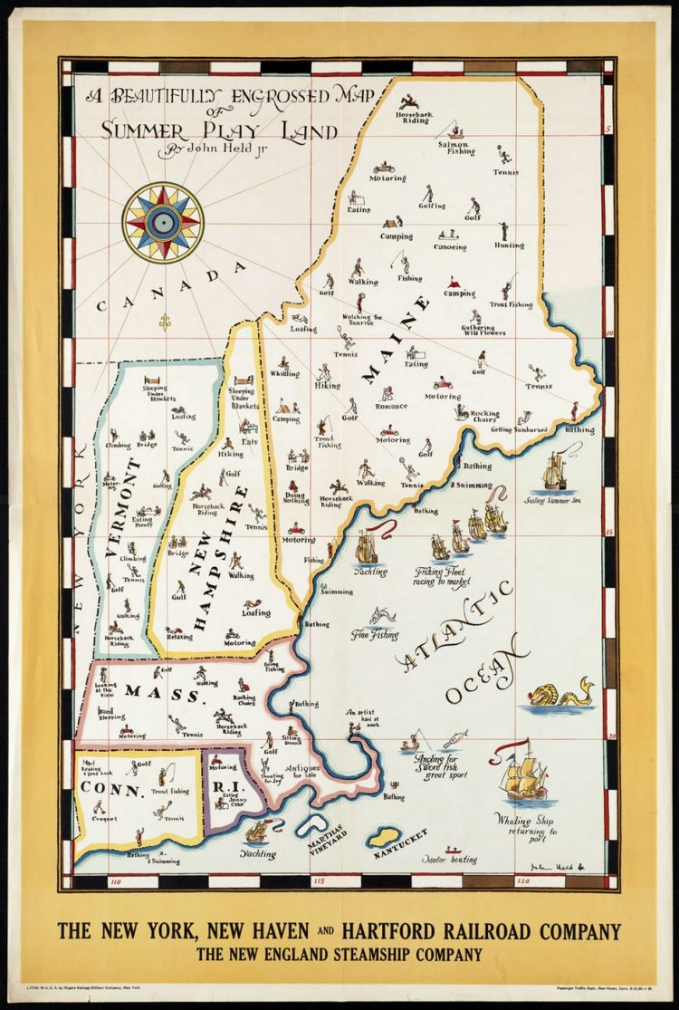 Vintage US travel poster - Maine NH VT MA CT RI