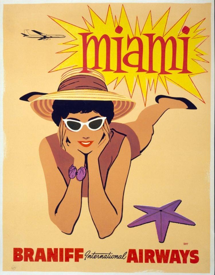 Vintage US travel poster - Miami on Braniff