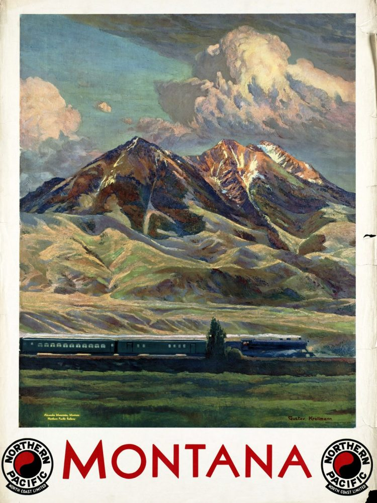 Vintage US travel poster - Montana by train