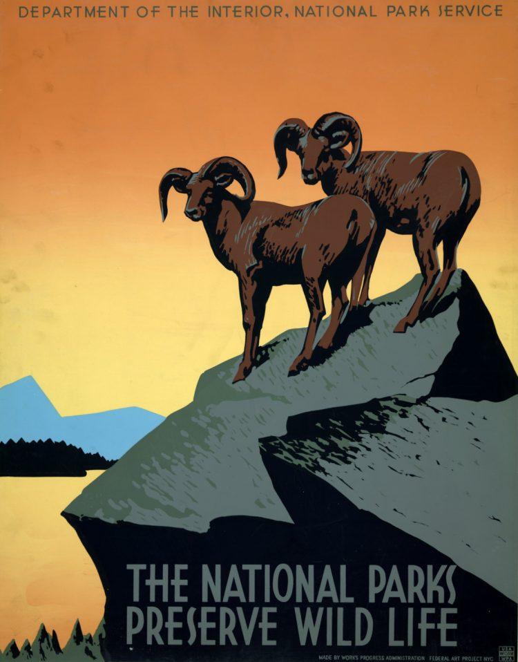 Vintage US travel poster - National Parks