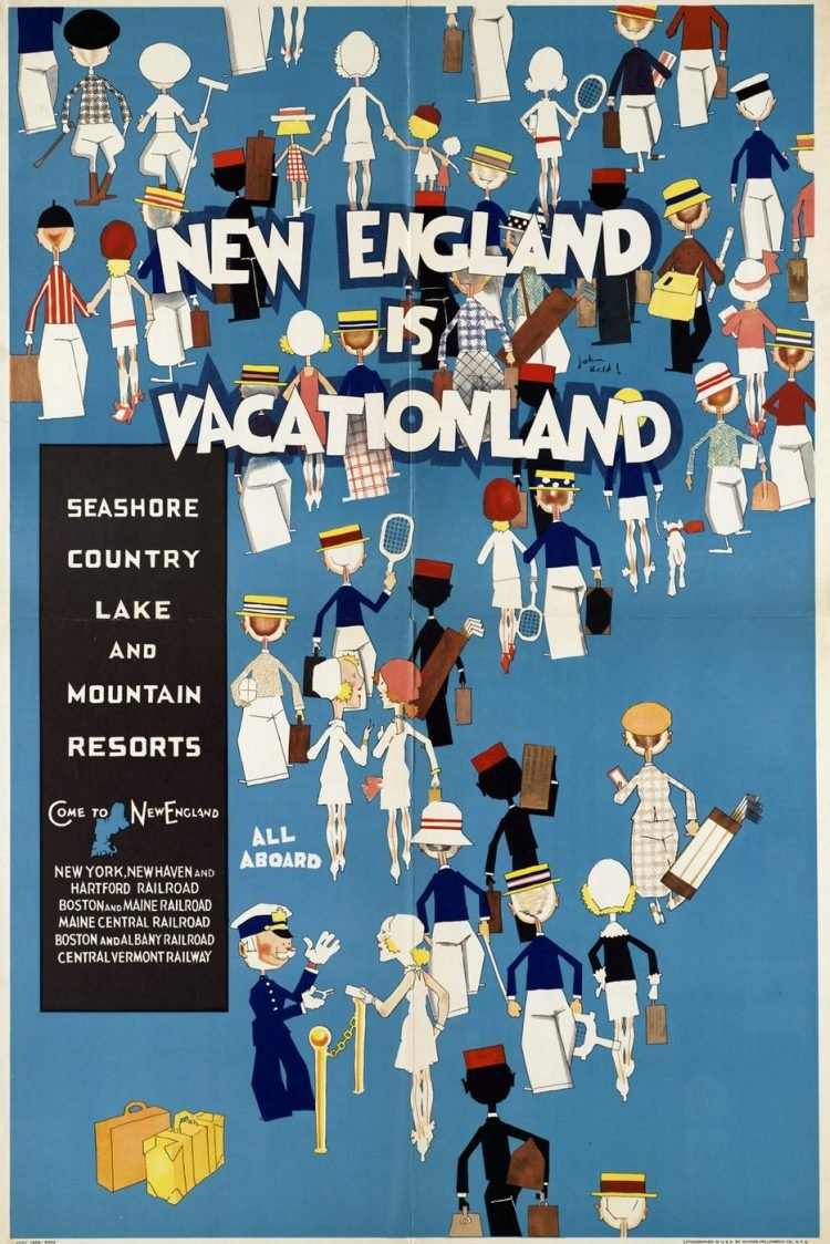 Vintage US travel poster - New England vacationland