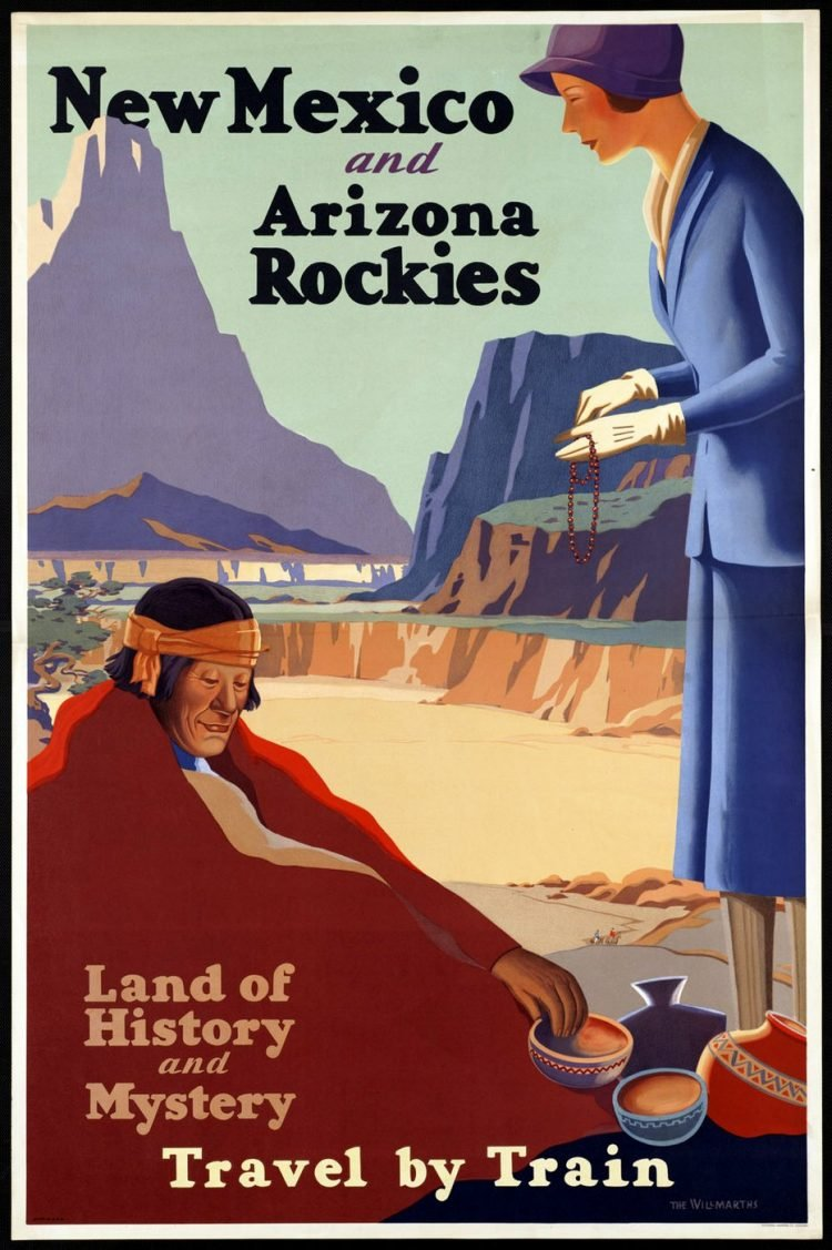 Vintage US travel poster - New Mexico and Arizona Rockies