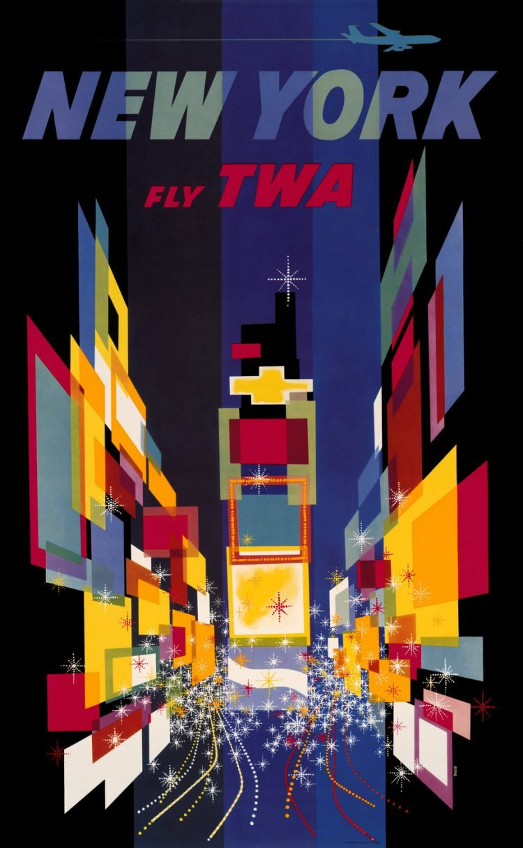 Vintage US travel poster - New York on TWA