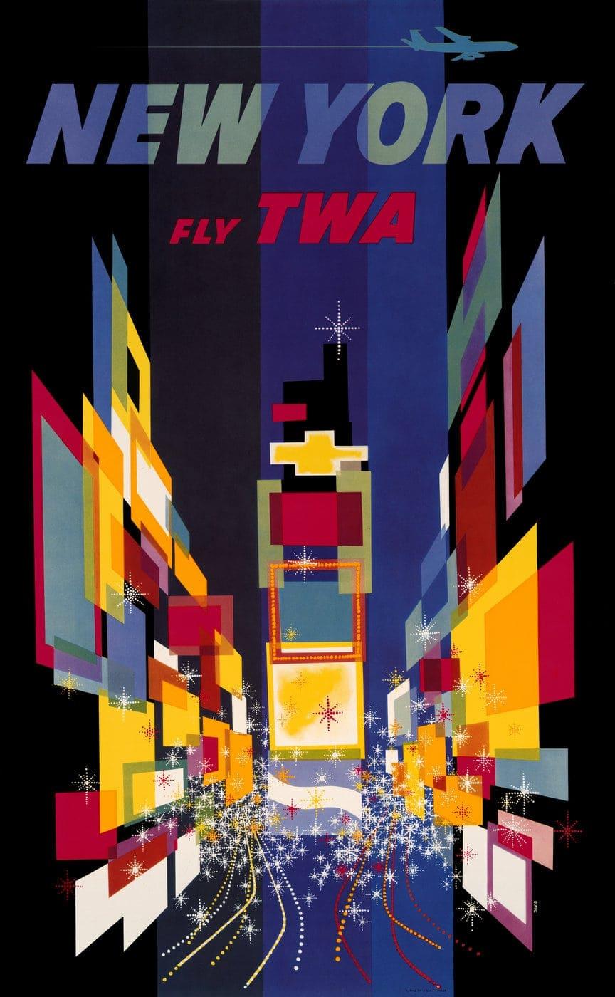 Vintage US travel poster - New York on TWA