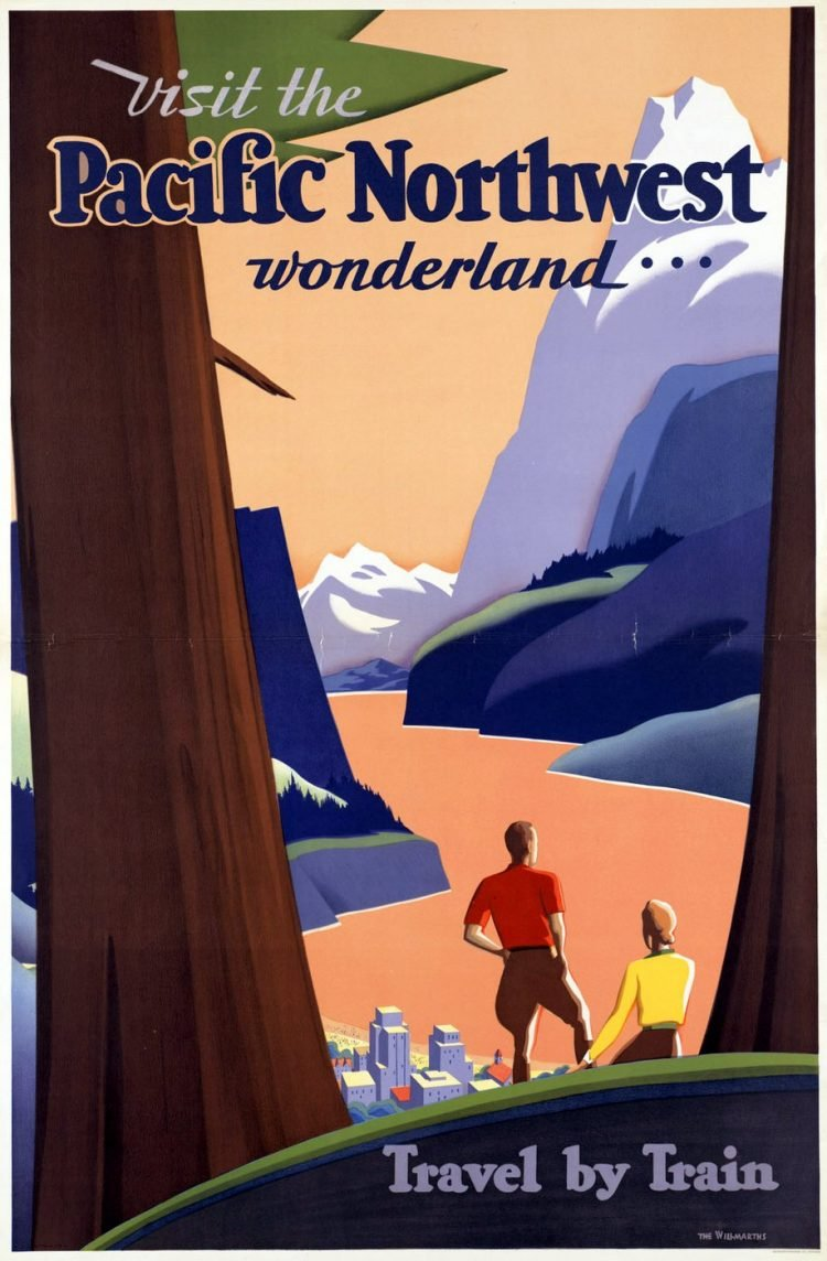 Vintage US travel poster - Pacific Northwest