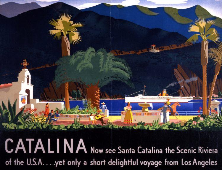 Vintage US travel poster - Santa Catalina Island