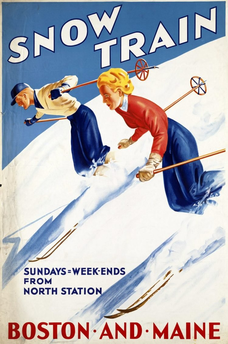 Vintage US travel poster - Snow train - Boston and Maine