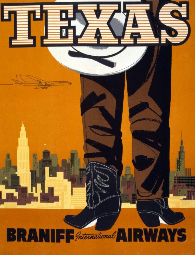 Vintage US travel poster - Texas on Braniff International Airways