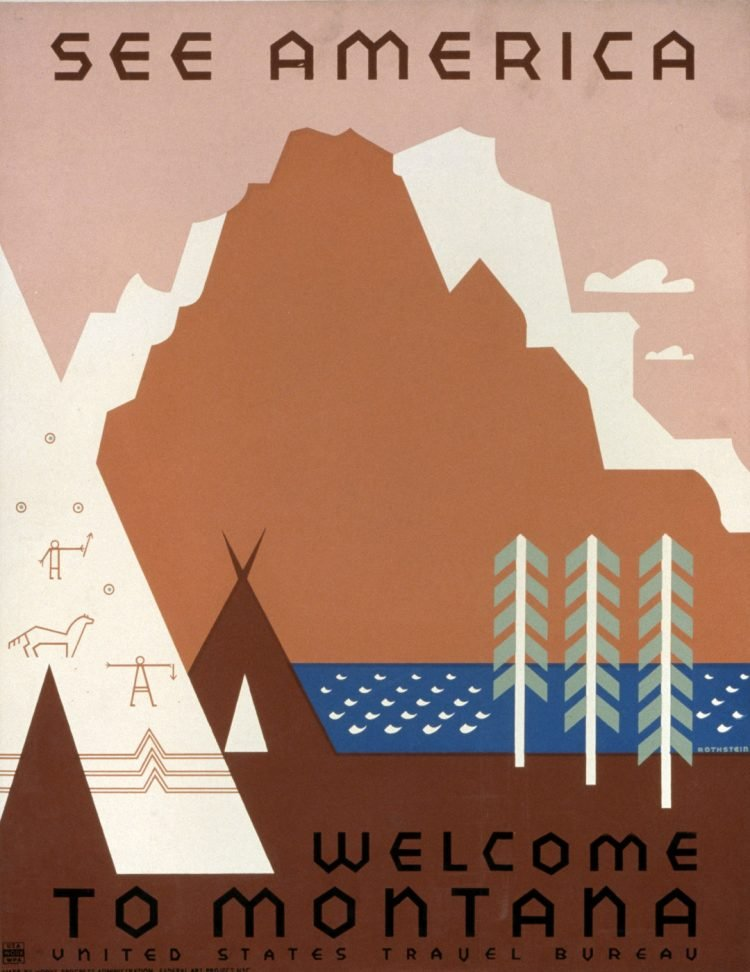 Vintage US travel poster - Welcome to Montana