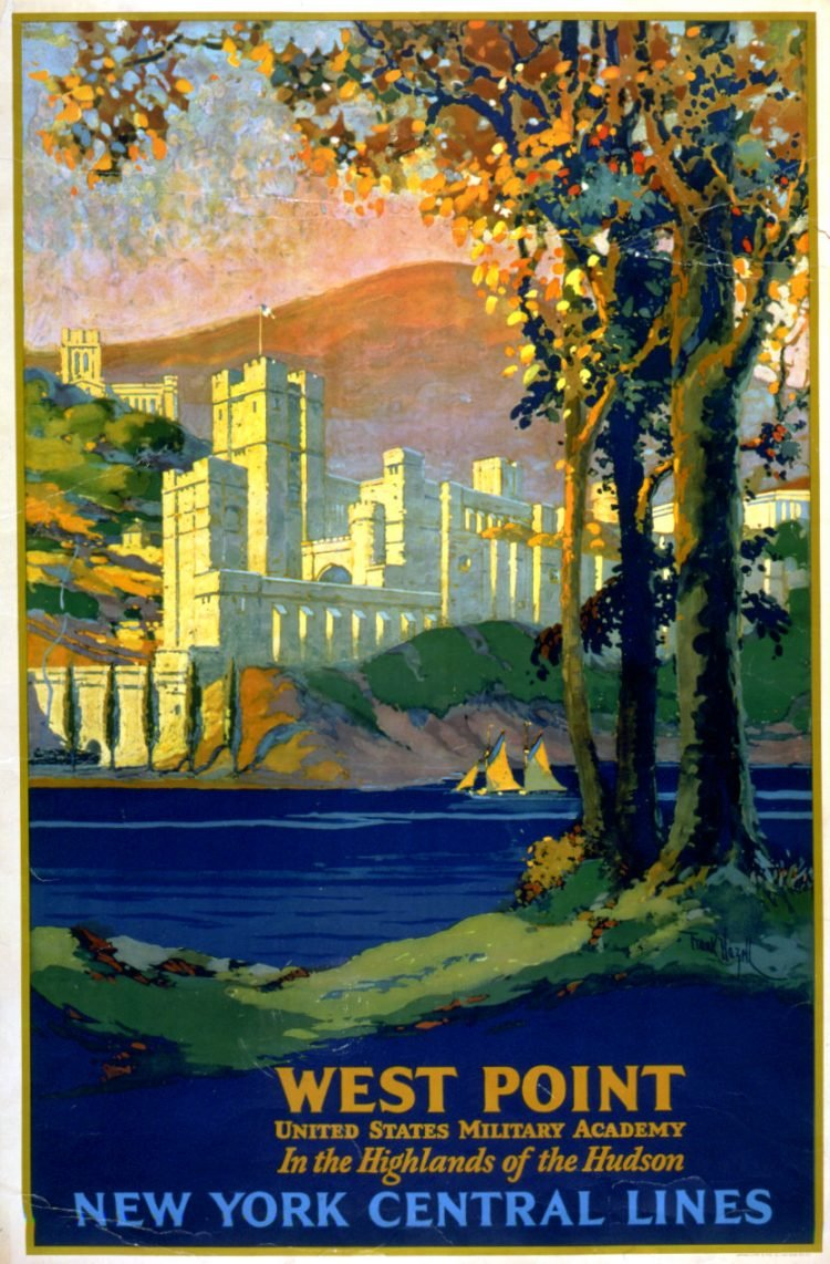 Vintage US travel poster - West Point military academy
