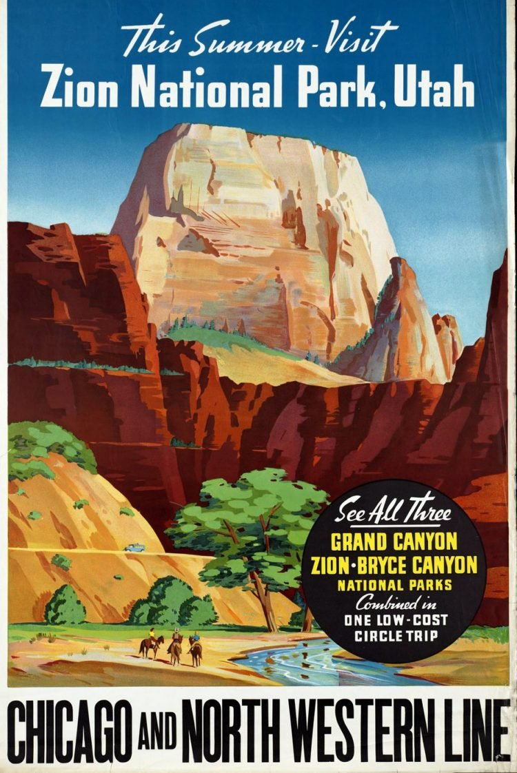 Vintage US travel poster - Zion National Park by train