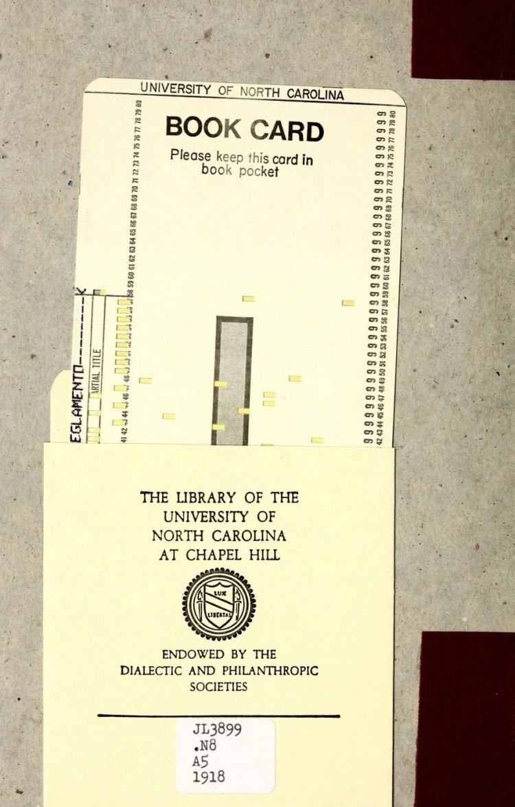 Vintage University of North Carolina library pocket and book card