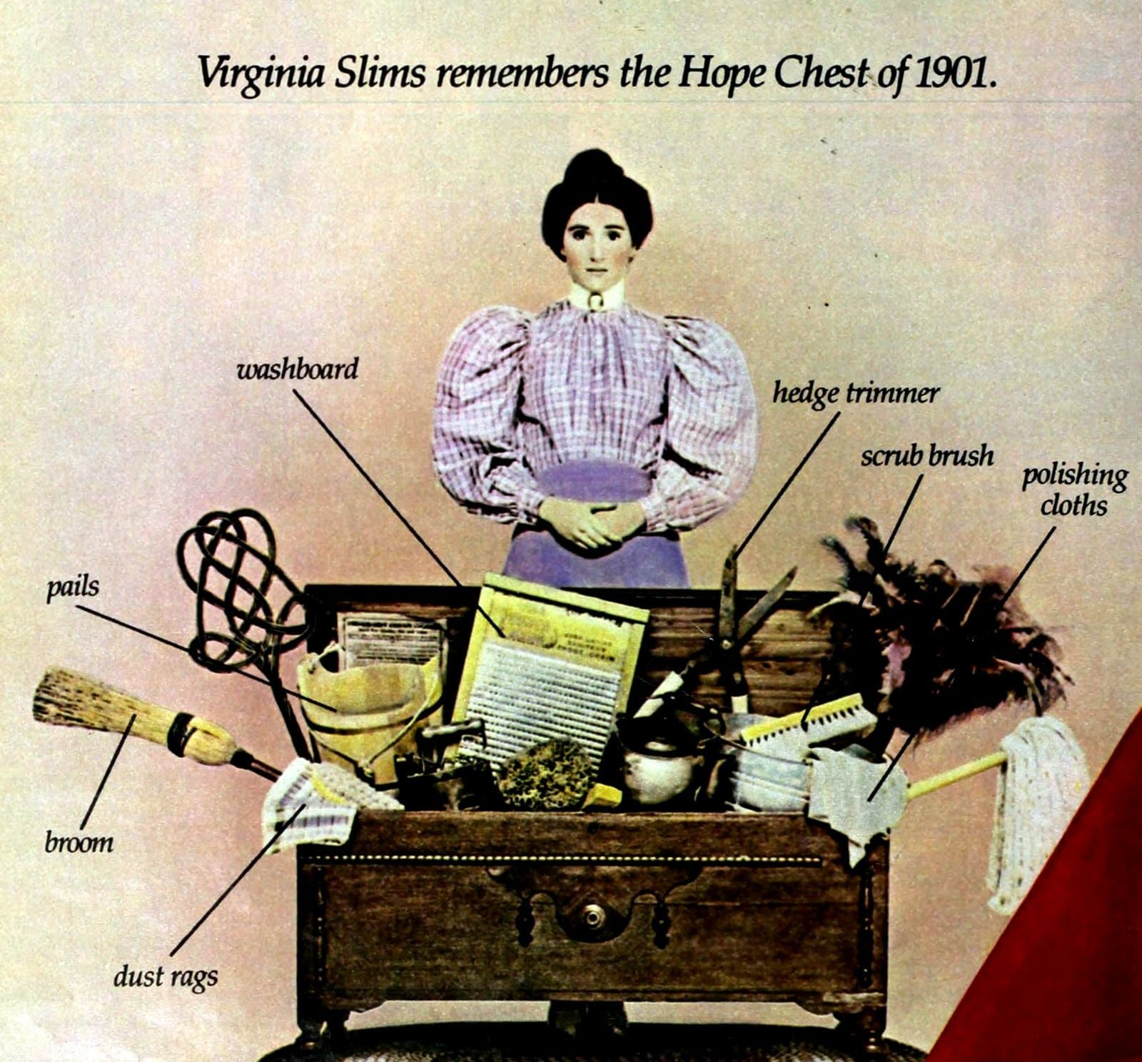 Vintage Virginia Slims ad with hope chest snark (1982)