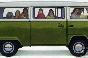 Vintage WV bus van in green
