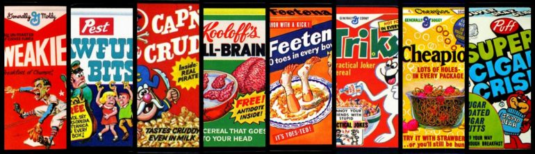 Vintage Wacky Packs cards for cereals Cheapios, Weakies, Triks & more (1970s)
