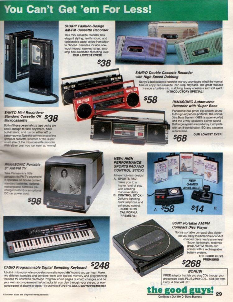 Vintage Walkmans, boomboxes, mini-recorders, cassette recorders 1987
