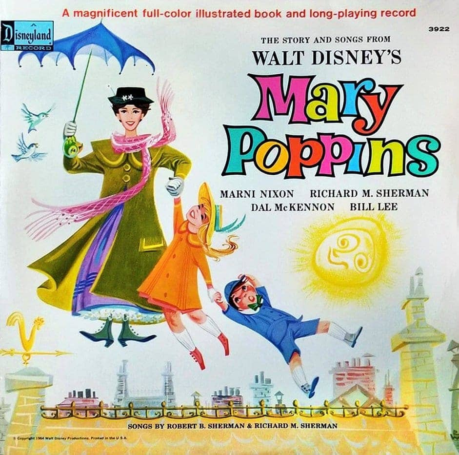 Vintage Walt Disney's Mary Poppins book and LP 1974