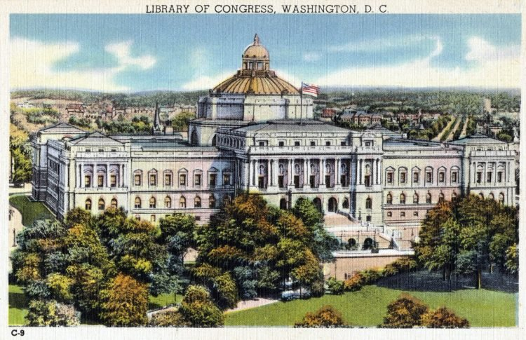 Vintage Washington DC 1940s - Library of Congress old postcard