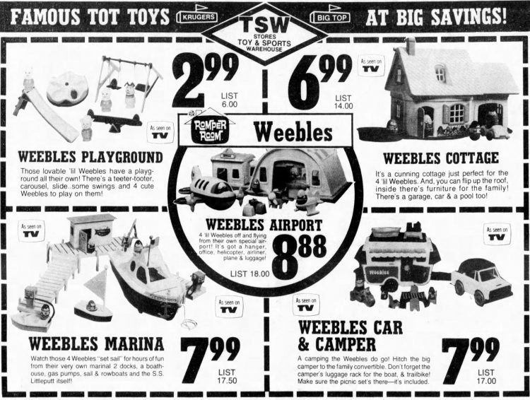 Vintage Weebles playsets from 1973